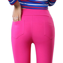 New Outer wear fashion Women leggings High Waist Elastic show thin Solid color Small trouser legs sexy leggings L1054(China)