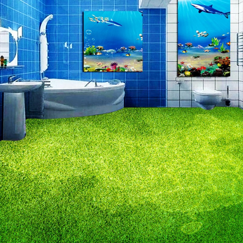 Free shipping custom Toilets Bathroom Bedroom Living Room Meadow Map moisture proof self-adhesive thickened 3d wallpaper floor<br>