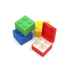 Portable 4 Slots Plastic Medicine Case Building Block Style Drug Storage Box Jewelry Organizer Mini Pill Cases (Random Color)