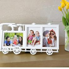 1pc creative Photo frame small locomotive 3 frame combination 6 photo hanging frame gift home room decoration supplies A35