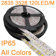 5M/lot 12V IP65 Waterproof 3528 2835SMD 600 LED Strip Light Ribbon Tape 120led/m Warm White Cool White Blue Green Red LED Stripe(China)