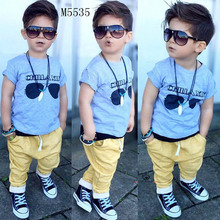 2017 Kids Clothing Sets Short sleeve T-Shirt + Pants, summer Children's Sports Suit Boys Clothes Free Shipping INS  toddler boy