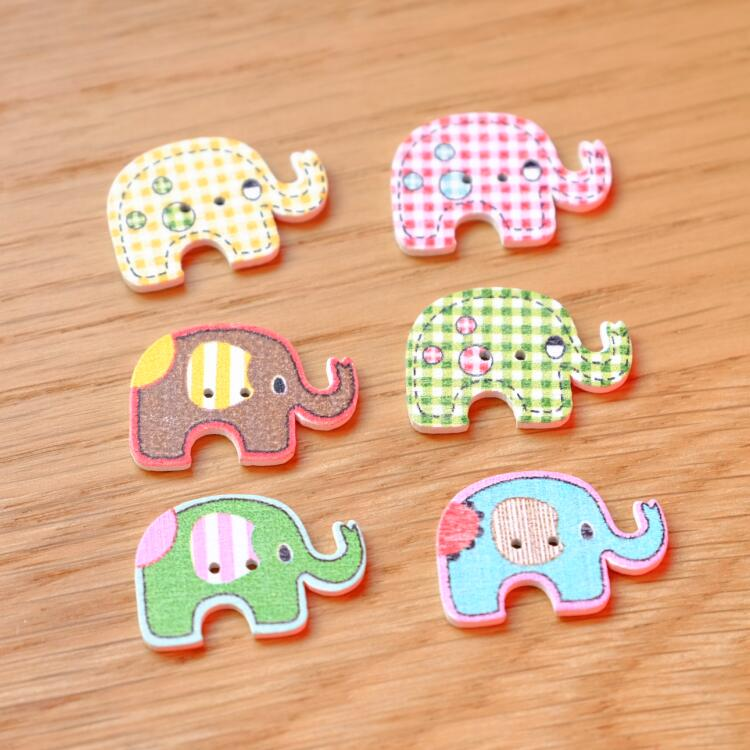 Elephant Wood Button Animal Teal Orange Children Baby Large Wooden 30mm 20pcs