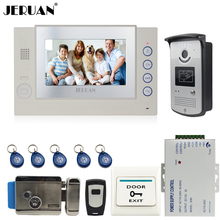 JERUAN 7`` video doorphone intercom system video door phone access control system monitor video recording +power supply