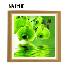 5d diy diamond painting flower crystal diamond coloring cross stitch green orchid sewing home decorative