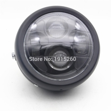 "RPMMOTOR Black Motorcycle Accessories Projector Daymaker LED 6 1/2"" Head Light Lamp For Harley Bobber Chopper"
