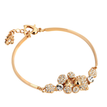 ZHOUYANG Top Quality ZYH070 Cute Teddy Bear Crystal Rose Gold Color Bracelet Jewelry  Austrian Crystal Wholesale