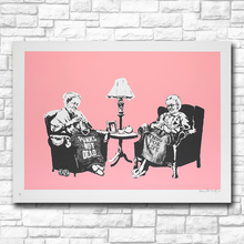 Mklql Wall Art Banksy Grannies,2006 Graffiti Art Canvas Painting For Living Room Home Decor Oil Painting On Canvas No Framed(China)