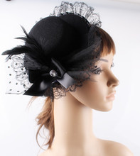 Lady Mini Feather black Top Hats Cap Lace Fascinator Hair Clip Costume Hair Band bow Accessories party fascinators bases hats(China)
