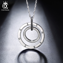 ORSA JEWELS Fashion Silver Color Necklace Round Double Circles Pendant Long Chain Necklace with Austrian CZ for Men Women ON127(China)