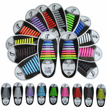 16Pc/Set Unisex Women Men Athletic Shoes Lazy No Tie Shoelaces Elastic Silicone Shoe Laces Shoestrings All Sneakers Fit Strap(China)