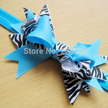 20pcs 4.5 Inch Girl Animal Printed Zebra Layered Hair Bows Headband Stretch Hairband Ribbon Kids Hair Accessories #F06