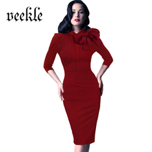 VEEKLE Spring Women Office Solid Brief Bow Neck Classic Retro Elegant Dress Bodycon Clothes Three Quarter Sleeve Robe Femme Slim