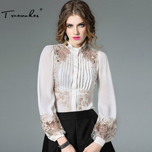 Truevoker Spring Designer Silk Blouse Women's High Quality Puff Sleeve Stand Collar Gold Embroidery Bodysuit Shirt Top 3 Color