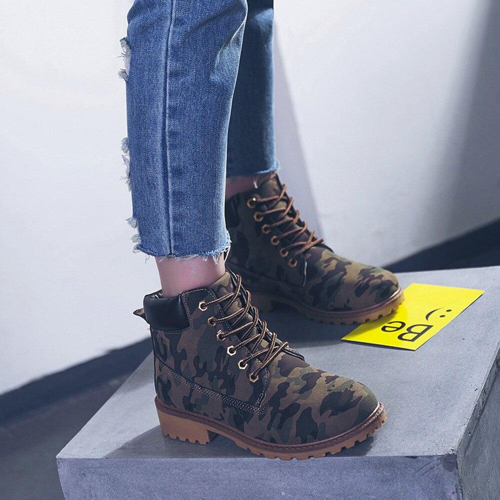 Szyadeou Women Ladies Round Toe Lace-up Faux Boots Ankle Casual Martin Shoes botas mujer invierno kozaki damskie schoenen 30 32