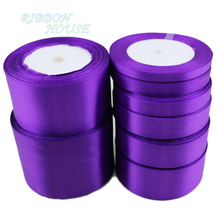 (25 yards/roll) Purple Single Face Satin Ribbon Wholesale Gift Wrapping Christmas ribbons(China)