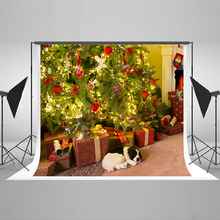 Christmas Photo Background Christmas Tree Ball Computer Printing Backdrops Pet Dog Gift Box Backgrounds for Photography