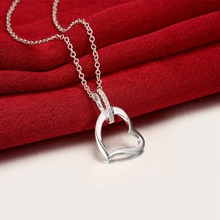 Big heart pendant chains for Women girls gifts 925 silver wear hot brand new fashion popular chain necklace jewelry