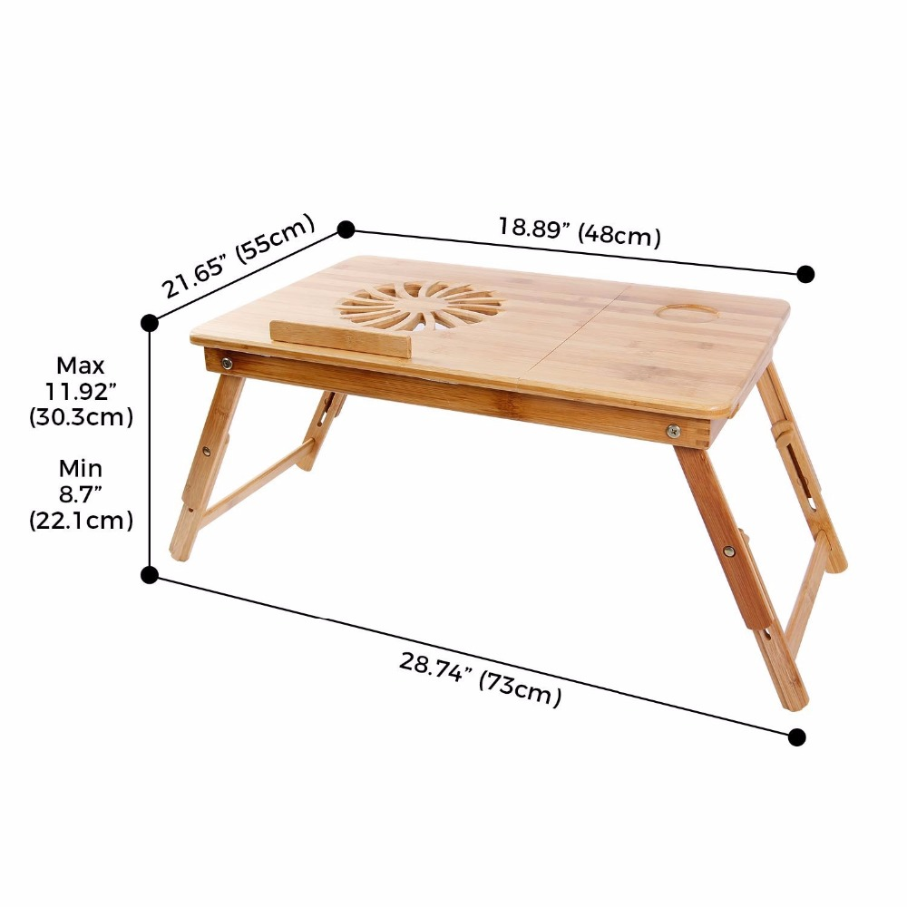 Lifewit Height &amp; Angle Adjustable Lap Desk Bamboo Wood Lapdesk Breakfast Serving Bed Tray with Tilting Top Drawer<br>