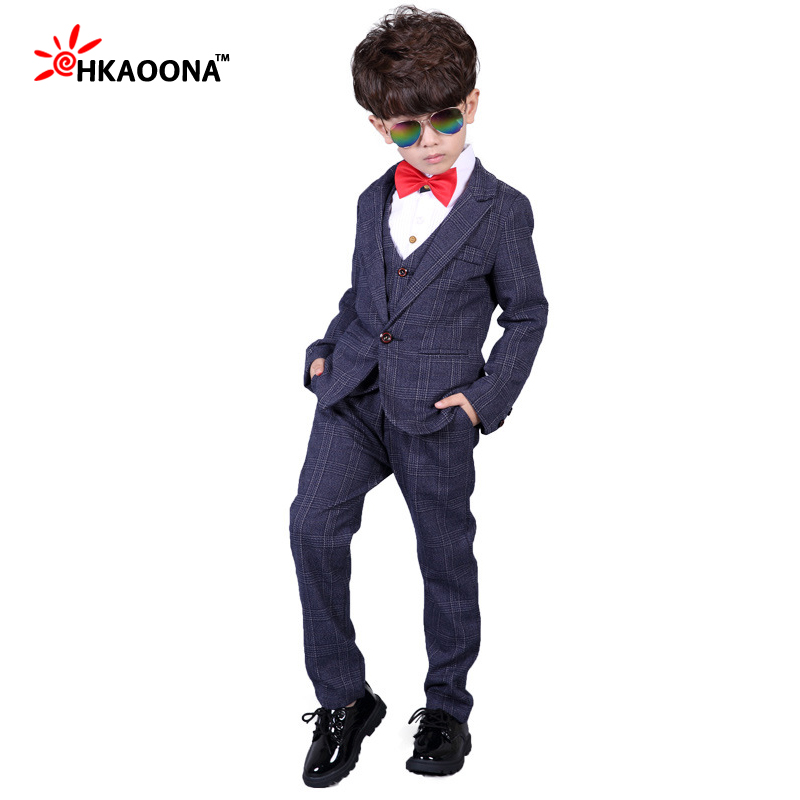3-12 Year Children Formal Blazer Prom Wedding Baby Boys Suits 8 Colors Leisure Jacket+Shirt+Trousers 3pcs Sets Kids Clothes<br>