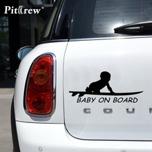 1PC High Quality 15.3*6.4cm Baby On Board Surf Surfing Surfboard Car Truck Window Funny Vinyl Decal Stickers(China)