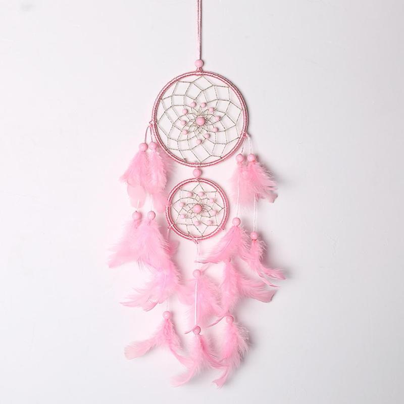 Attrape Rêves Rose décoration murale cosy pour intérieur Capteur de rêves roses à accrocher chambre salon origines amérindiennes