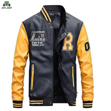 New Men Embroidery Baseball Jackets Coats Pu Faux Leather Slim Fit Zipper Casual College Luxury Brand Coat(China)
