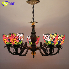 FUMAT Stained Glass Pendant Lamp Antique Style Baroque Glass Body Flower Shade Restaurant Suspension Lampe Hotel Project Lights(China)