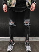 Ripped Jeans Men 2017 Hem Zipper Black Male Skinny Biker Pants Jogger Distressed Trouser Hole Plus Size 36 38 Wholesale Clothing(China)