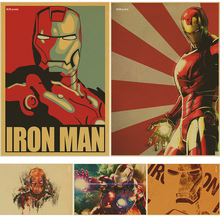 IRON MAN Marvel Comics retro Movie Kraft Paper Poster vintage Wall Sticker Painting Antique Home decor for bar cafe pub(China)