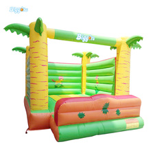 Palm Tree Inflatable Jumping Trampoline Bouncer House Kids Toys With Free Blower