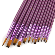 12 Pcs/Lot Different Size Artist Fine Nylon Hair Paint Brush Set for Watercolor Acrylic Oil Painting Brushes Drawing Art Supplie(China)