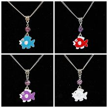 10PCS Drop Glaze Tropical Fish&Glass Flower Bead Charm Pendant Popular Short Clavicle Necklace Banquet Jewelry For Women G287(China)