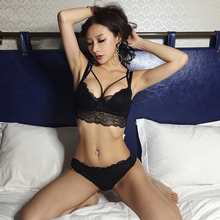 Buy Sexy Push Underwear Set Women Lace Brassiere Embroidery Lingerie 3/4 Cup Adjustable Strap Bra Panty Sets 2018 Fashion Set