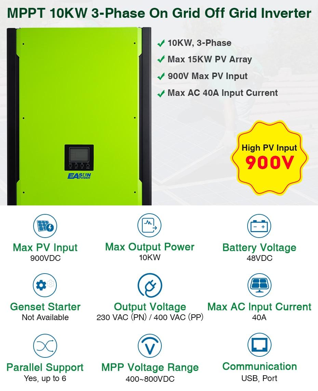 EASUN POWER 10KW Solar Inverter 48V 380V Grid Tie Inverter 3 Phase On Grid Off Grid Inverter With Max Solar Power 14850W MPPT_01
