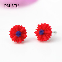 9 Color Hot Sale Sun Flower Earrings for Girls Resin Cute Small Daisy Stud Earrings Women Fashion Jewelry PULATU CJ111(China)