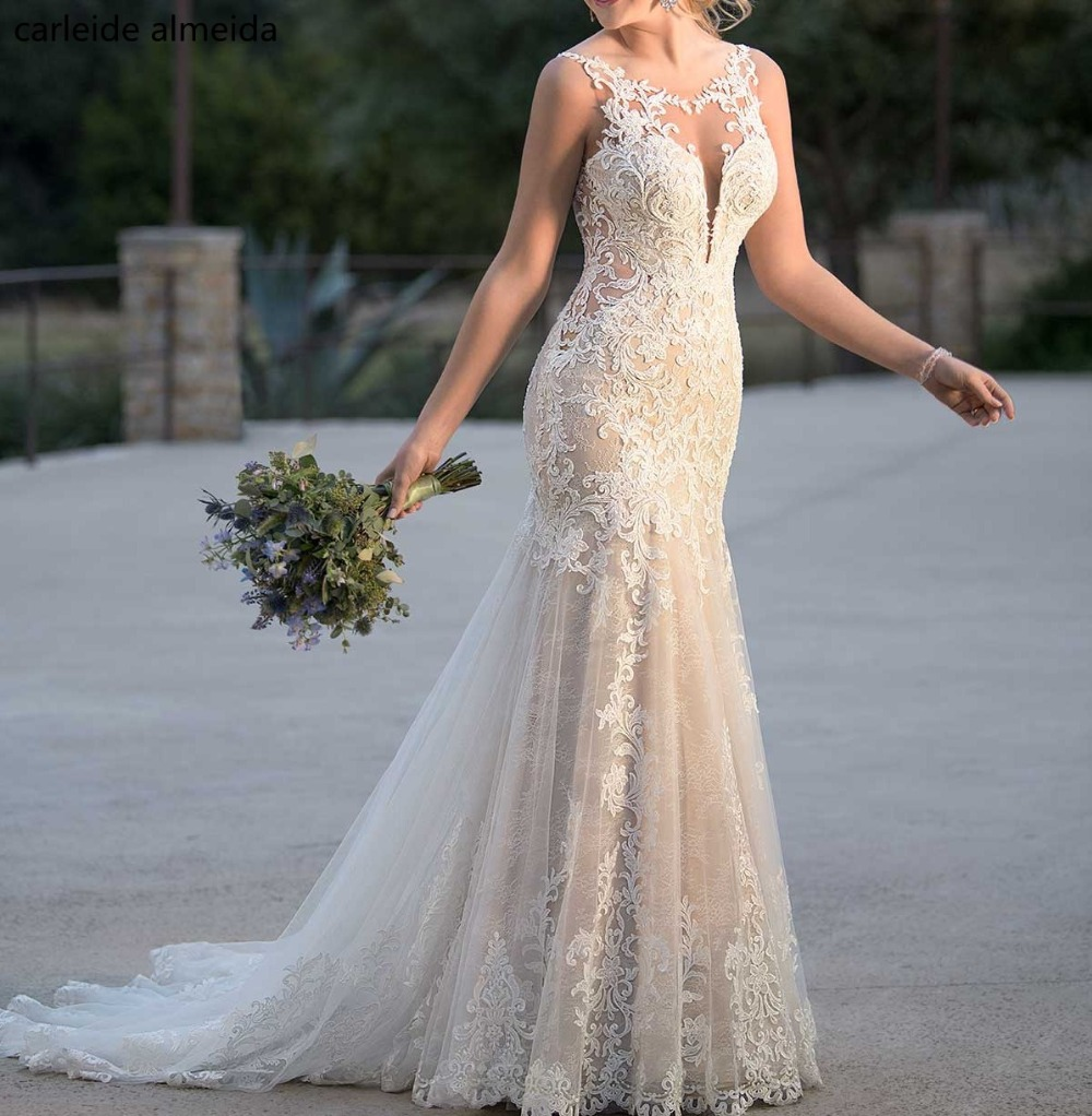 Robe De Mariage Backless Sleeveless Appliques Mermaid Wedding Dresses 2019 Lace Bride Wedding Gowns Vestido De Noiva