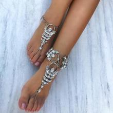 Best lady 2017 Luxury Bohemian Crystal Anklets Bracelets Sexy Women Summber Beach Foot Leg Chain Statement Anklets Jewelry 4370