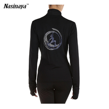 Customized Ice Skating Costume Figure Skating Tops Jacket Black Gymnastics Warm Fleece Adult Child Back Skater Rhinestone