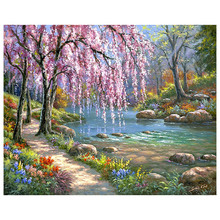 Practical Frameless painting by numbers wall decor diy picture oil painting on canvas for home decor 4050 Stream