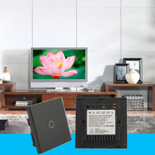 Newest Smart Home Black Crystal Glass Panel 1 Circuit UK Plug Light Touch And Remote Control Screen Switch With LED indicator