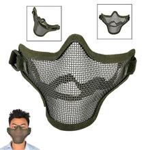 Halloween Half Face Guard Cos Mesh Mask Green Airsoft Mask War Game Protective for party(China)