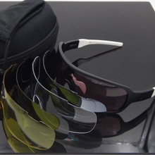 2017 PO New 5 Lens Ski Goggles Airsoftsports  Sunglasses Polarized Men Sport Road Mtb Mountain Bike Glasses Eyewear