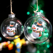 Freeshipping DIY Glass Ball Christmas Ornament Decoration / balloon Snowman/ Festival Holiday Decorative Ball Wedding Party Home