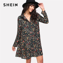 SHEIN Flower Daisy Print Shirt Dress Women Turn-down Collar Long Sleeve Button Shift Dress 2018 Spring Female Casual Dress(China)