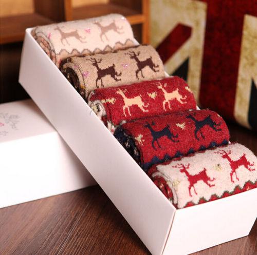5-Pairs-Women-Christmas-Designer-Fashion-Dress-Socks-winter-rabbit-wool-socks
