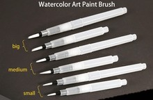 Sakura 6Pcs/set Large Capacity Water Brush Watercolor Art Paint Brush Nylon Hair Painting Brush For Calligraphy Pen(China)