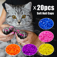 20pcs Silicone Soft Cat Nail Caps / Cat Paw Claw / Pet Nail Protector/Cat Nail Cover with free Glue and Applictor(China)