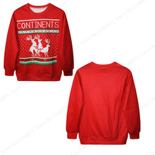 CONTINENTS Letter Sweatshirt Hoodie Red Christmas Reindeer Training Sweaters Autumn Winter Oversized Tracksuits Sport Suit Men's