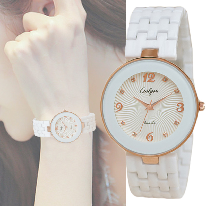 Onlyou Brand White Ceramic Quartz Watches Women Men Fashion Casual Ladies Wristwatches Water Resistant Lovers Watch Clock 8851<br><br>Aliexpress